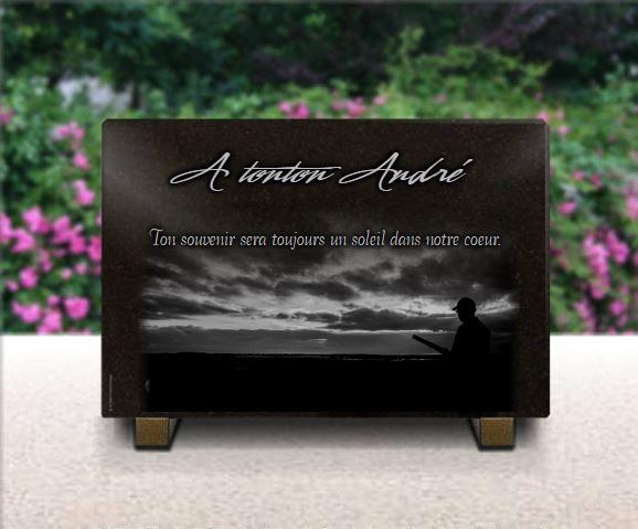 Plaque funéraire granit  . 20 x 30 cm. Plaque pour chasseur à personnaliser.