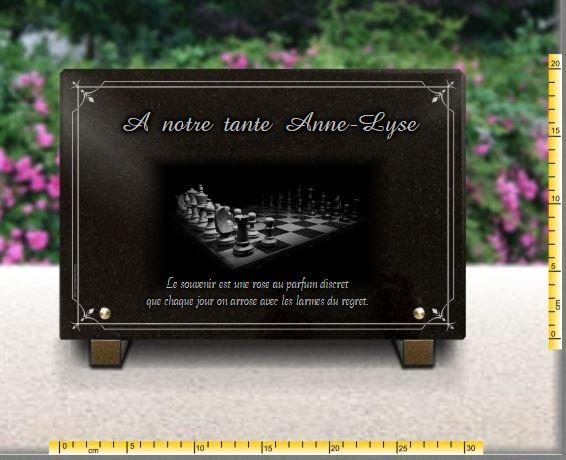 Plaque funéraire granit  . 20 x 30 cm. Plaque de cimetière avec jeu d'échecs à personnaliser en ligne.