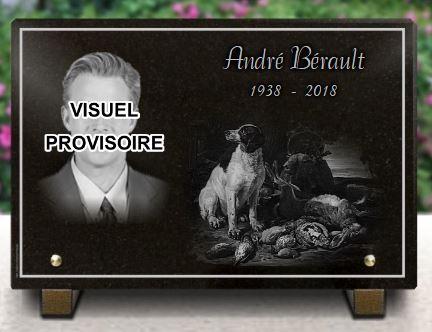 Plaque funéraire granit  . 20 x 30 cm. Photo gravée sur plaque funéraire chasseur avec chien. Granit 30x20cm