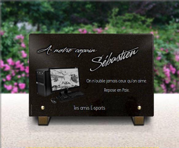 Plaque funéraire granit  . 20 x 30 cm. Plaque funéraire ordinateur, jeux vidéos, gamers e-sports, . Granit gravé