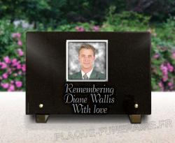 Photoporcelain sticked on granite memorial plaque