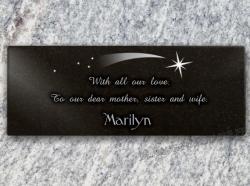 Adhesive memorial plaque, engraving of stars. Engraved personal text