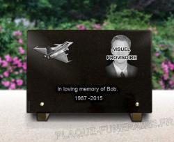 Plane and portrait + text engraved on a funeral plaque. Metal bases