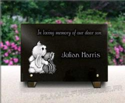 Granite memorial plaque for kids. Drawings of animal engraved. cheap
