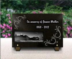 Grave plaque with engraving granite