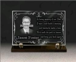 Grave plaque with photo engraving glass