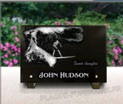 Engraved photo on memorial plaque granite