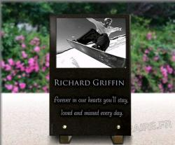 Glass memorial plaque granite
