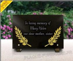 Grave plaque with engraving gild