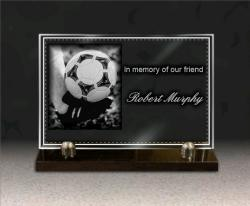 Engraved photo on memorial plaque