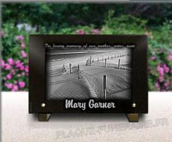 grave plaque personnalised with engraved photo sea