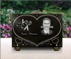 grave plaque personnalised with engraved photo heart