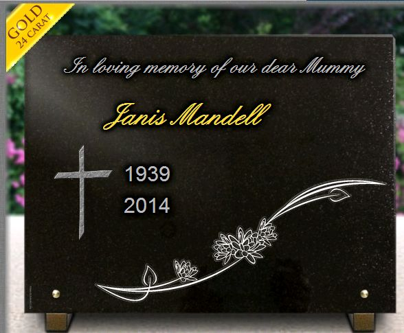 Memorial plaque granite Flowers . 30 x 40 cm.