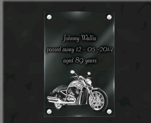 Memorial plaque glass  . 30 x 20 cm.