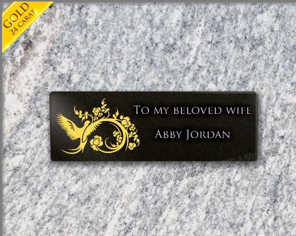 Memorial plaque granite flowers . 10 x 30 cm.