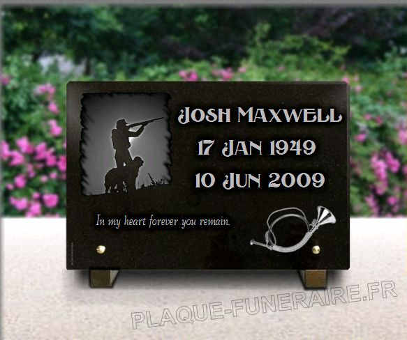 Tombstone plaque with hunter and hunting dog