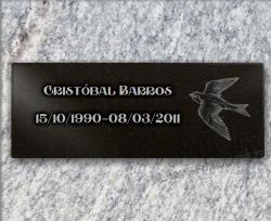 Placa funeraria de granito personalizable a pegar. Ave grabado