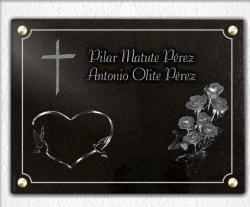 Placa funeraria de vidrio flore