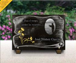 Placa de cementerio con grabado real flore