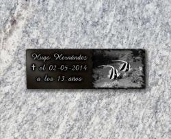 Peces grabados en placa funeraria adhesiva, de granito. Barata