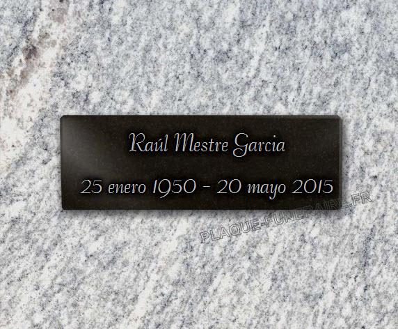 PLACA FUNERARIA granito  . 10 x 30 cm.
