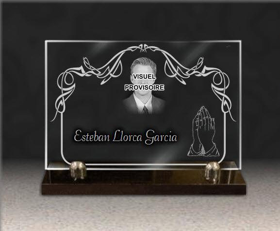 PLACA FUNERARIA granito  cristal. 20 x 30 cm.