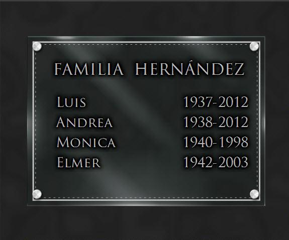 PLACA FUNERARIA granito Familia . 25 x 35 cm.