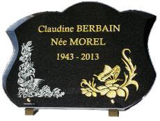 Plaque funéraire avec dorure 24 carats