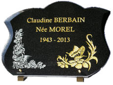 Plaque mortuaire avec dorure 24 carats