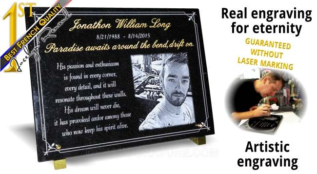40x30cm granite plaque with photo engraved and customized.
