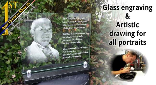Photo memorial plaque engraved in granite or glass