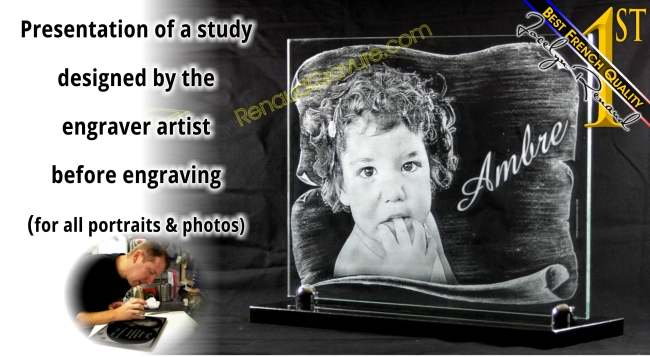 Portrait photo engraved on glass memorial plaque for outdoor headstone.
