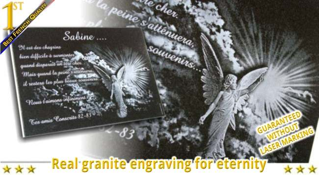 Engraved granite memorial plaque for headstone with angel