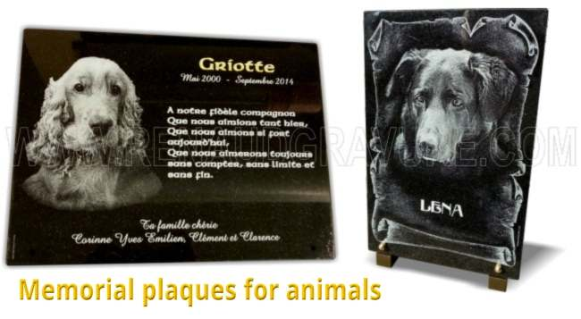 Manufacture made to measure of granite or glass grave plaques