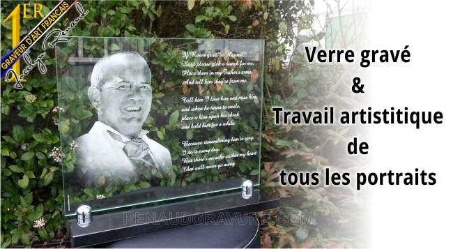 Photo d'une plaques fun�raires en verre personnalisable,