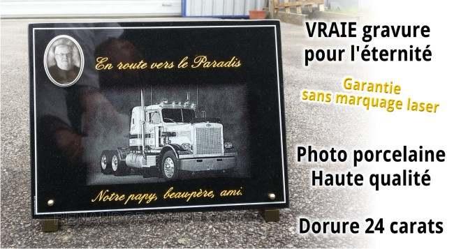 Photo porcelaine sur plaque fun�raire avec camion poids lourd