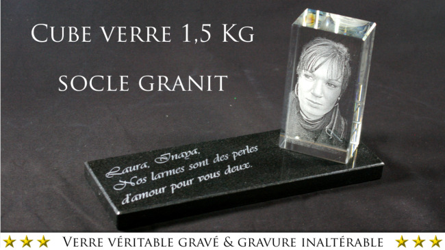 plaque fun raire moderne avec photo sur bloc de verre et granit. Black Bedroom Furniture Sets. Home Design Ideas