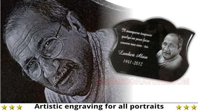 Photo carved on granite memorial plaque