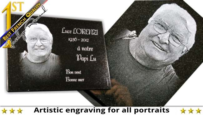 Glass engraving and sculpture with drawings and photos