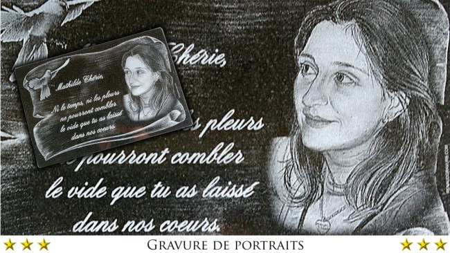 Plaque funeraire granit avec photo