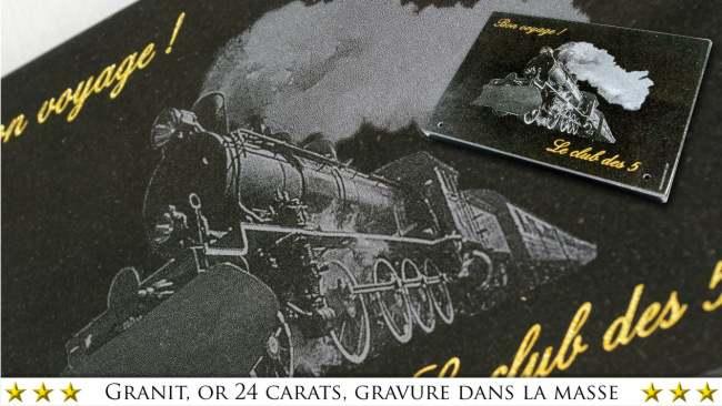 Plaque funéraire train locomotive pour cheminot