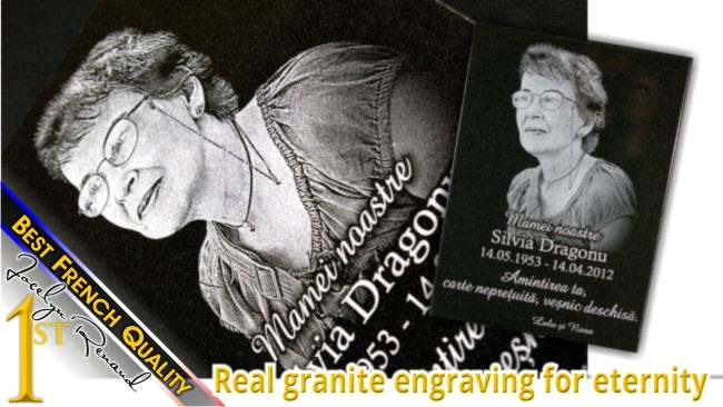 Custom funeral plaque with photo engraved on granite surface for eternity.