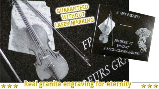 Violin engraved on memorial plaque to personalize