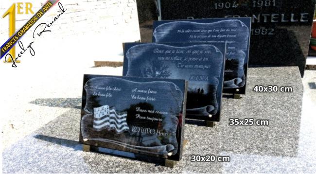 Artículo para pompas fúnebres para poner o fijar sobre un monumento funerario