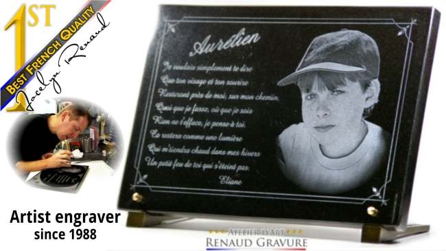 Customisable funeral plaque for headstone and gravestone