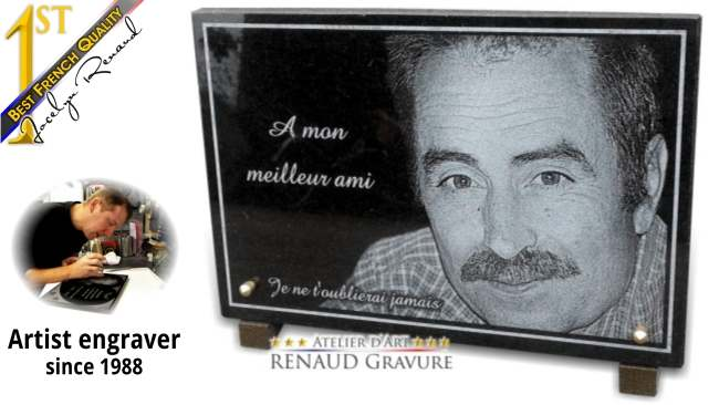 Photo and portrait engraved on granite for a beautiful memorial plaque