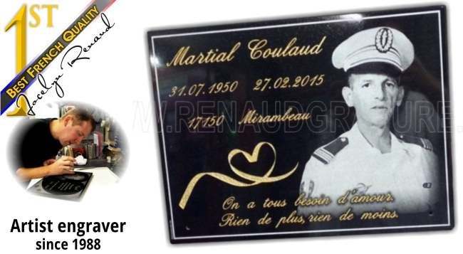 Cemetery memorial plaques with engraved photos