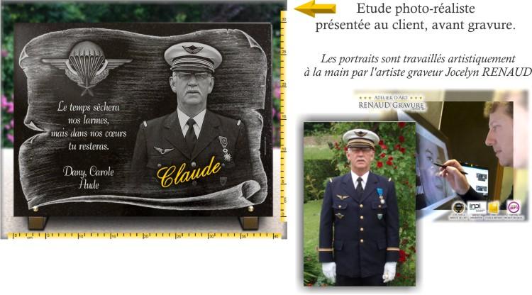 Plaque funéraire militaire avec parchemin, insigne parachutiste et dorure.