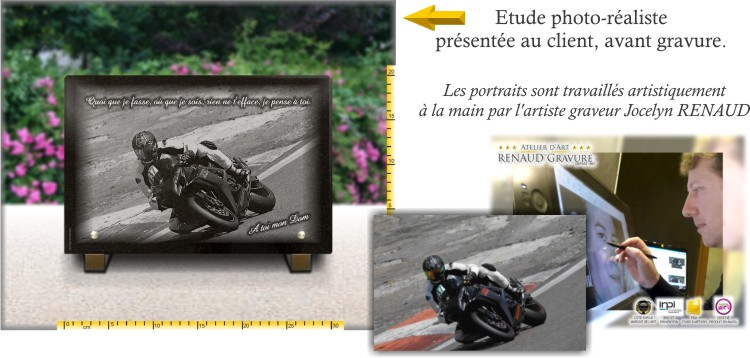 Plaque mortuaire photo moto