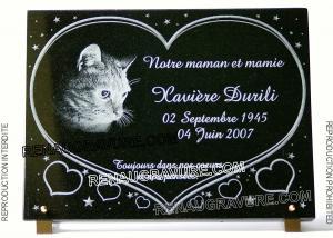 Photo de : Plaque de cimetière avec coeurs, chat et étoiles.
